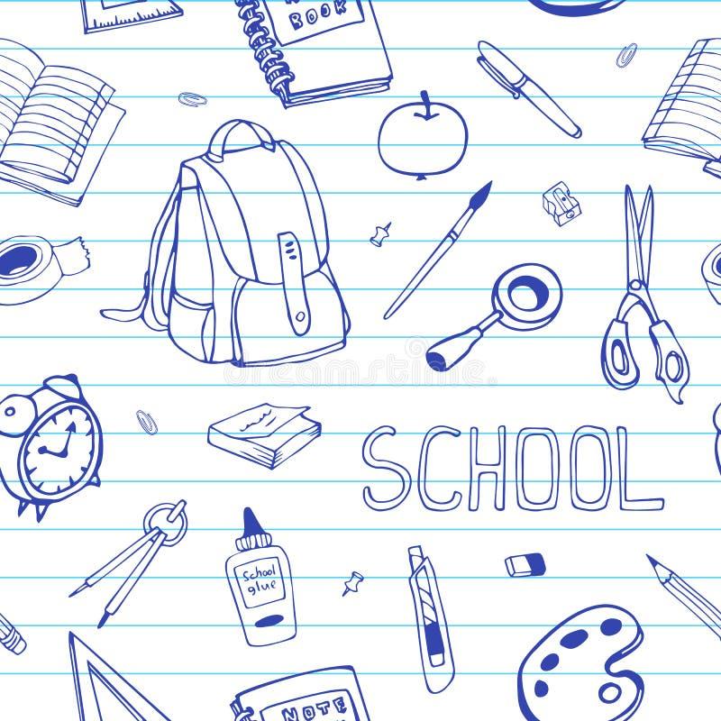 Vectordiehand terug naar school naadloos patroon wordt getrokken Schoolbehoeftenkrabbels op beslist document stock illustratie