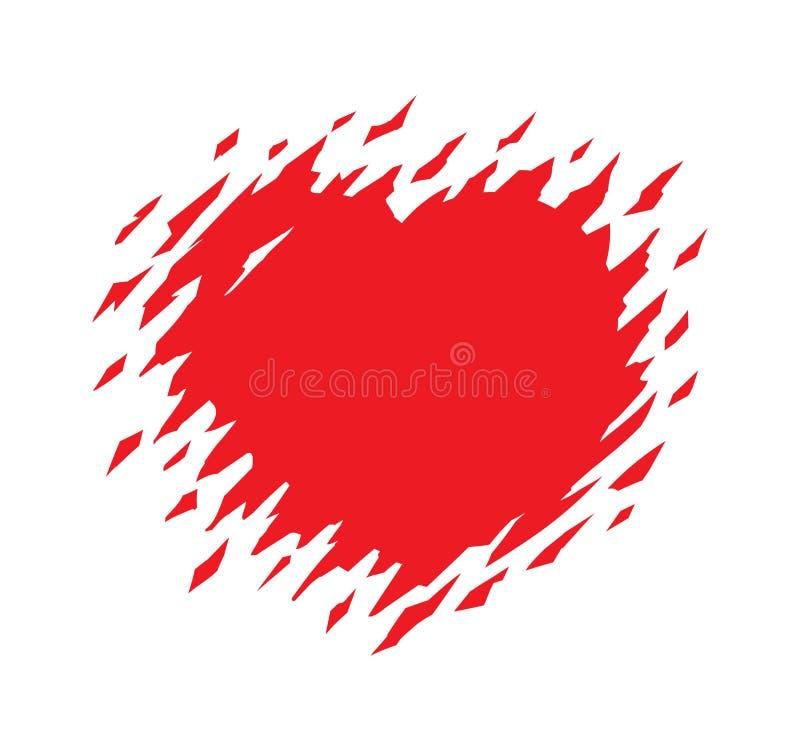 Vectordieillustratie van het Grunge de rode hart op wit wordt geïsoleerd Haveloos hart Gescheurd hart Gebroken Hart royalty-vrije illustratie