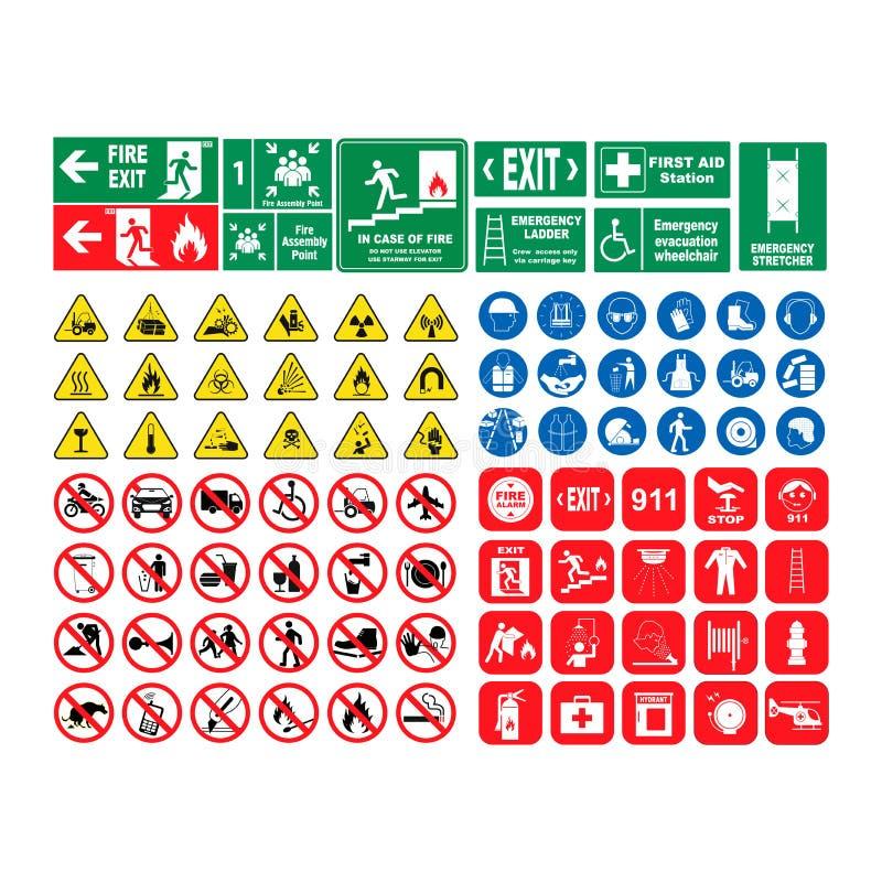 Vectordieillustratiereeks gevaarwaarschuwingsborden, reeks pictogrammen op witte achtergrond wordt geïsoleerd Bedreiging, een inz stock illustratie