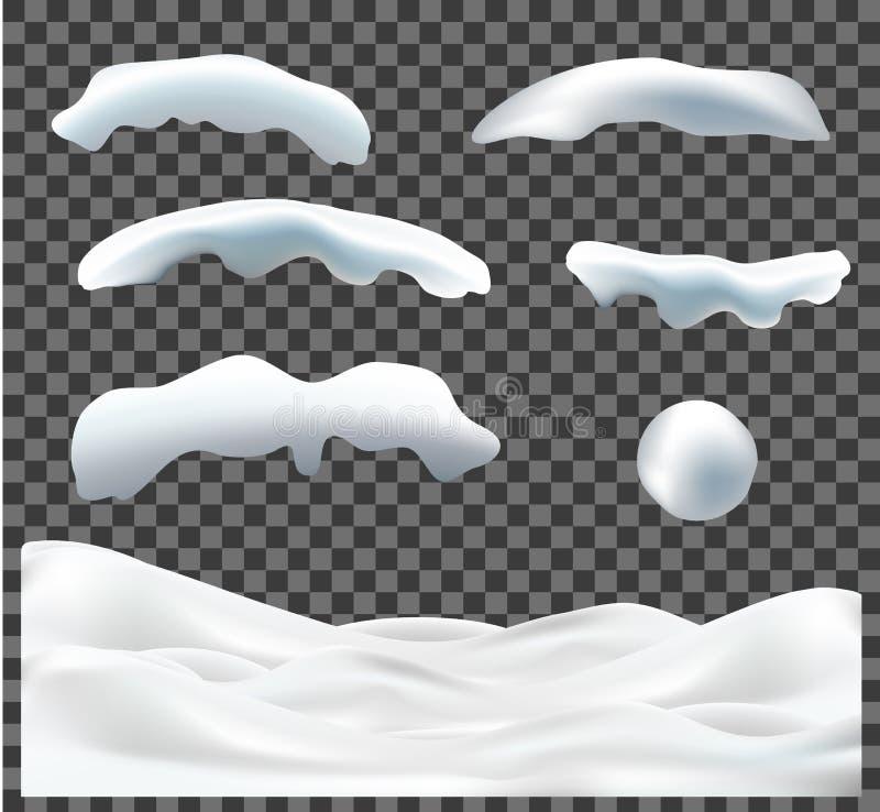 Vectordieinzameling van sneeuwkappen, stapel, ijskegels, ijs, sneeuwbal en sneeuwbank op transparante achtergrond worden geïsolee vector illustratie