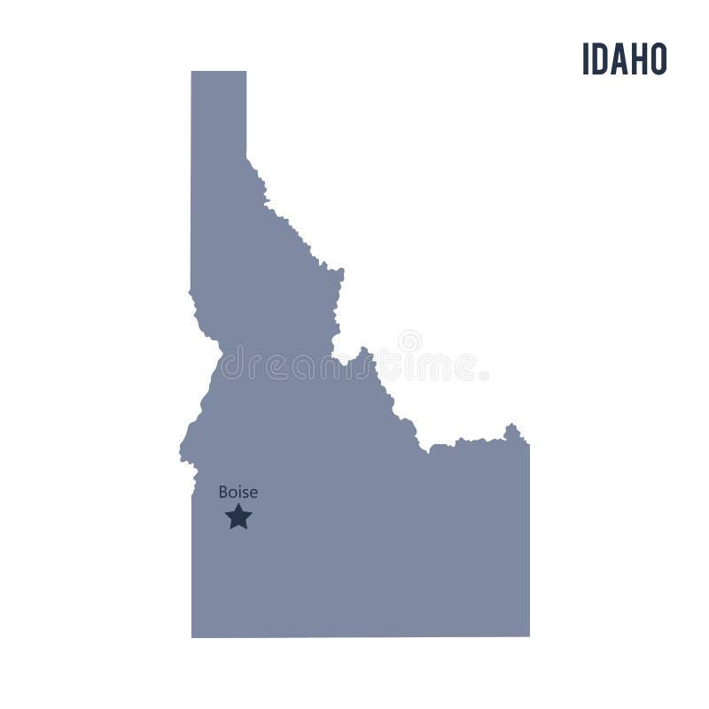 Vectordiekaartstaat van Idaho op witte achtergrond wordt geïsoleerd stock illustratie