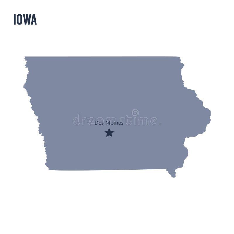 Vectordiekaartstaat van Iowa op witte achtergrond wordt geïsoleerd vector illustratie