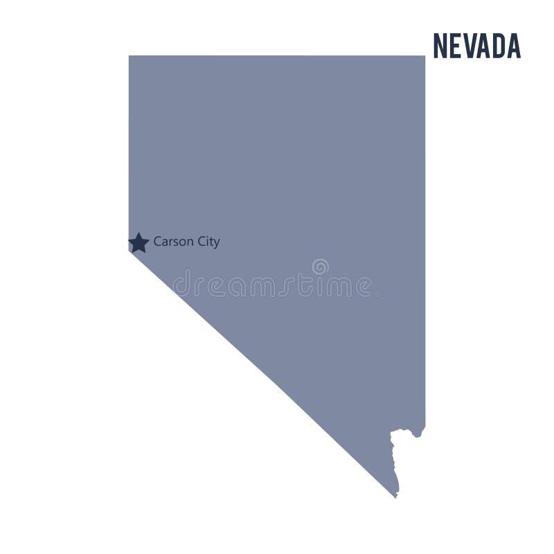 Vectordiekaartstaat van Nevada op witte achtergrond wordt geïsoleerd stock illustratie