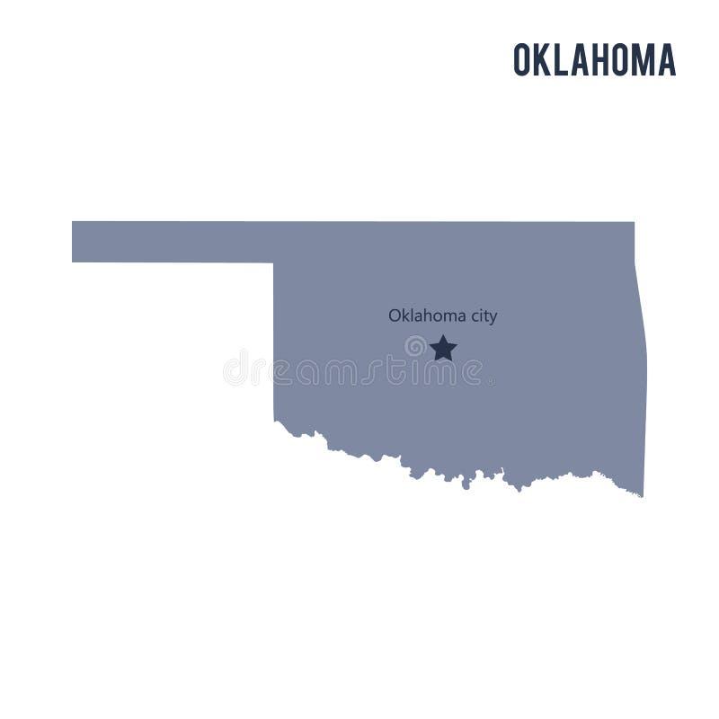 Vectordiekaartstaat van Oklahoma op witte achtergrond wordt geïsoleerd royalty-vrije illustratie