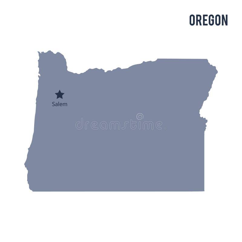 Vectordiekaartstaat van Oregon op witte achtergrond wordt geïsoleerd royalty-vrije illustratie