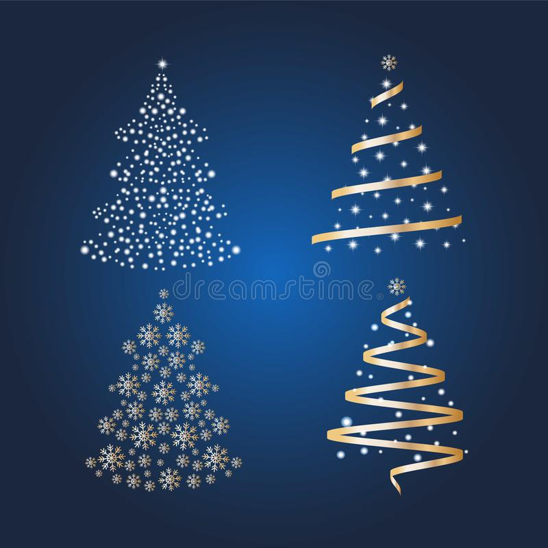 VectordieKerstbomen met ballen en sterren op een heldere blauwe achtergrond worden verfraaid Het concept van de de wintervakantie stock illustratie