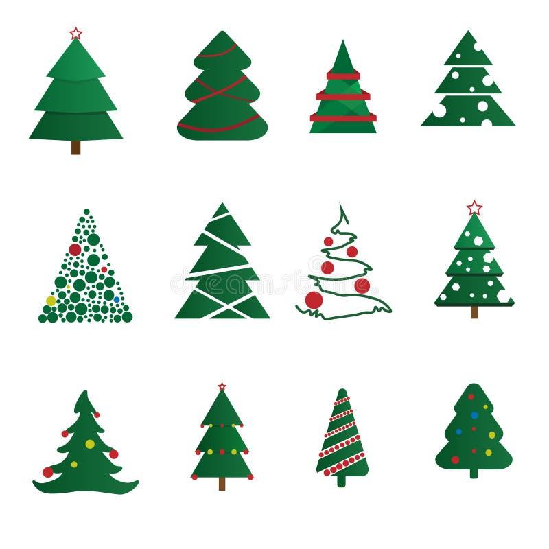 VectordieKerstbomen met ballen en sterren worden verfraaid, op een witte achtergrond worden geïsoleerd Het concept van de de wint royalty-vrije illustratie