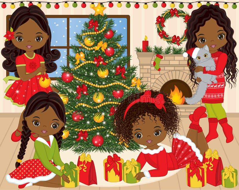 VectordieKerstmis en Nieuwjaar met Leuke Kleine Afrikaanse Amerikaanse Meisjes en de Winterelementen wordt geplaatst vector illustratie
