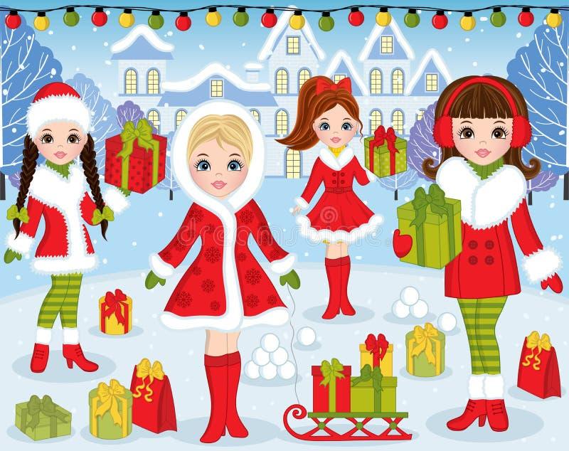 VectordieKerstmis en Nieuwjaar met Mooie Meisjes en Kerstmis wordt geplaatst royalty-vrije illustratie