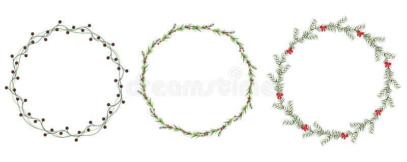 VectordieKerstmiskroon met de winter bloemenelementen wordt geplaatst De kaart van de seizoengroet Vector illustratie vector illustratie