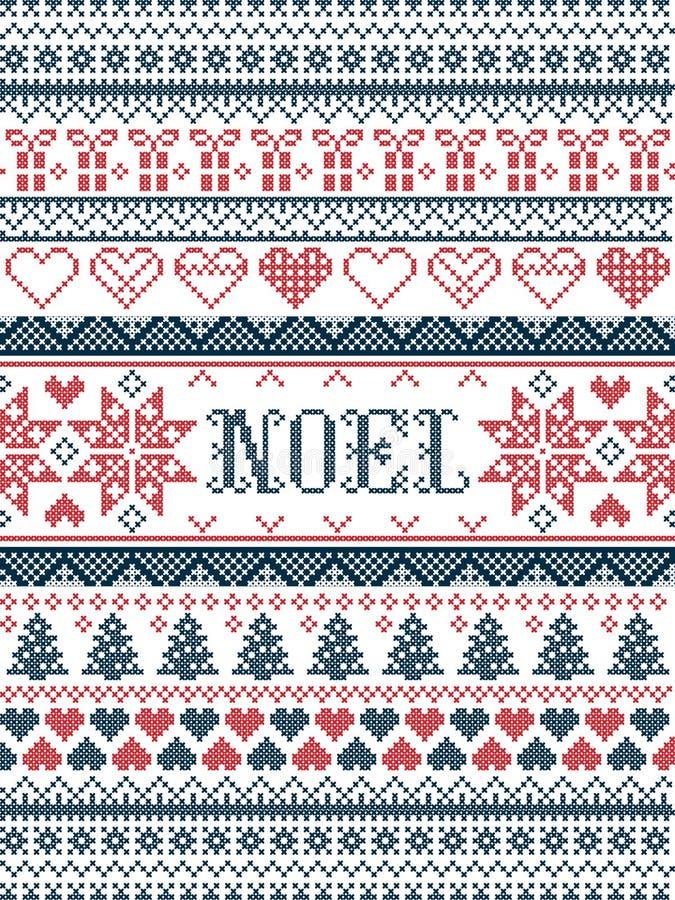 VectordieKerstmispatroon Noel door feestelijke, de winter Noordse cultuur wordt geïnspireerd in dwarssteek met harten, aanwezige  vector illustratie