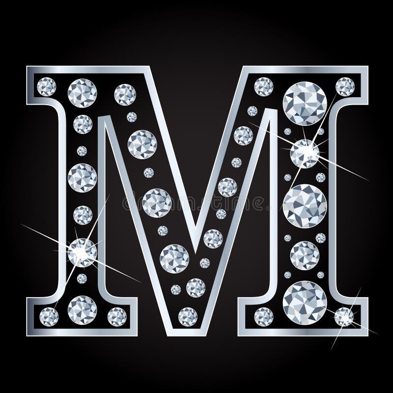 Vectordiem-brief met diamanten wordt gemaakt op zwarte achtergrond worden geïsoleerd royalty-vrije illustratie