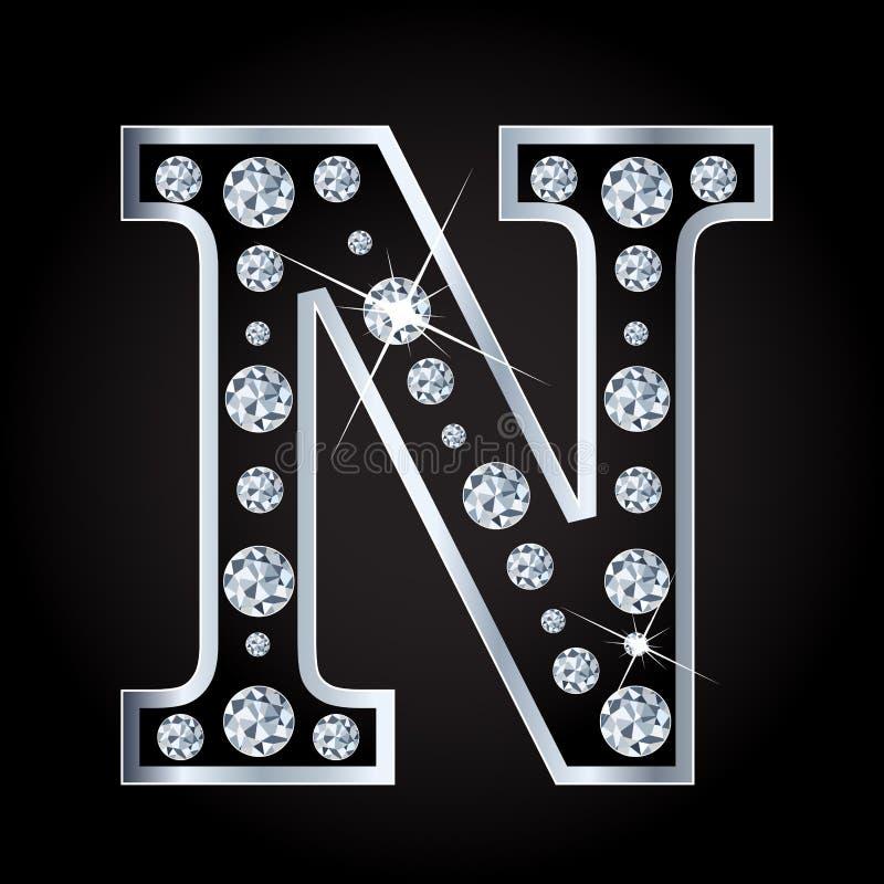 Vectordien-brief met diamanten wordt gemaakt op zwarte achtergrond worden geïsoleerd royalty-vrije illustratie