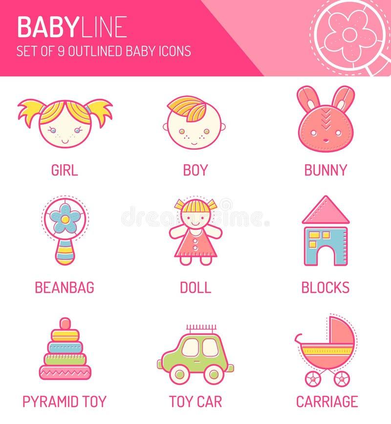 Vectordieontwerp met de gestreken pictogrammen van kinderen wordt geplaatst stock illustratie