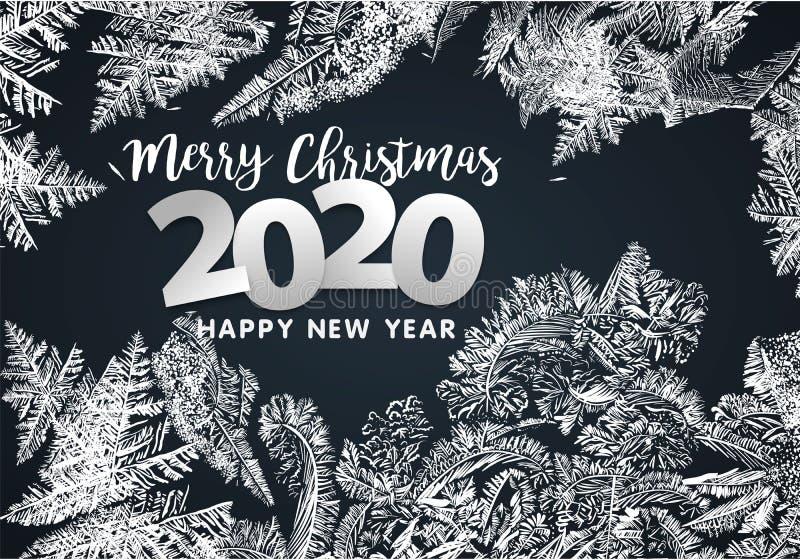 2020 VectordiePatronen door de Achtergrond van de Vorst Blauwe Winter voor Kerstmisontwerpen worden gemaakt Kerstmis Typografisch royalty-vrije stock fotografie