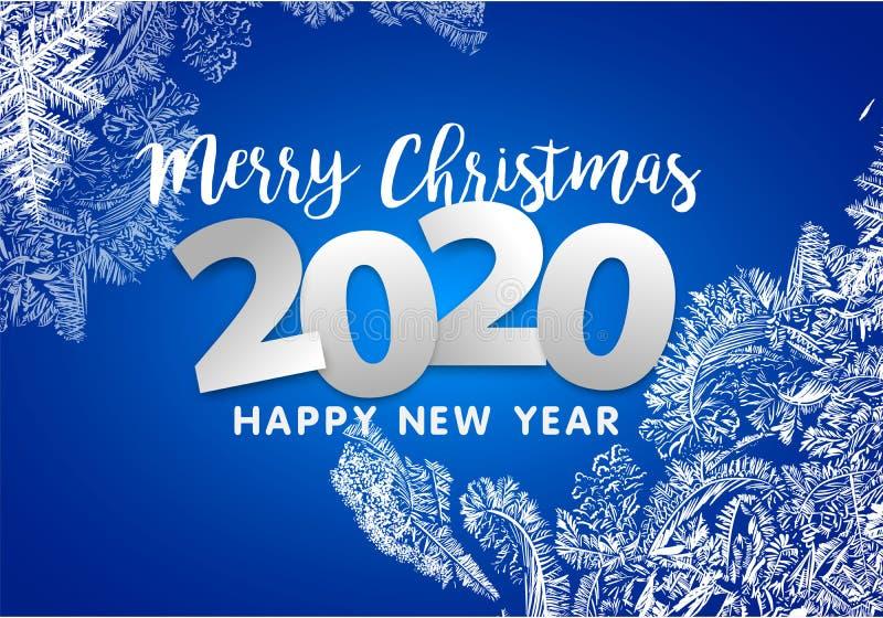 2020 VectordiePatronen door de Achtergrond van de Vorst Blauwe Winter voor Kerstmisontwerpen worden gemaakt Kerstmis Typografisch stock illustratie
