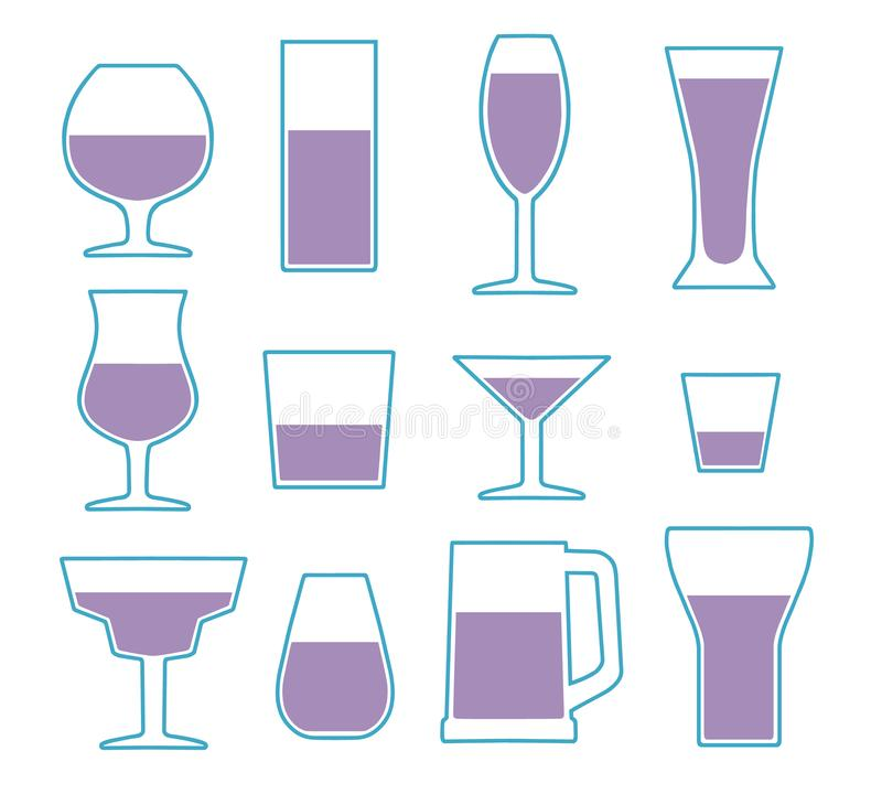 Vectordiepictograminzameling met verschillende eenvoudige het drinken glastypes wordt geplaatst stock illustratie