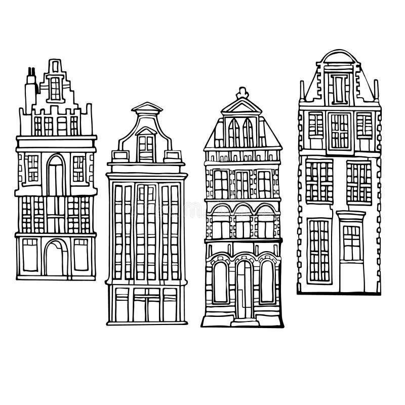 Vectordiepictogrammen met fictieve traditionele uitstekende Nederlandse huizen worden geplaatst Getrokken hand stock foto's