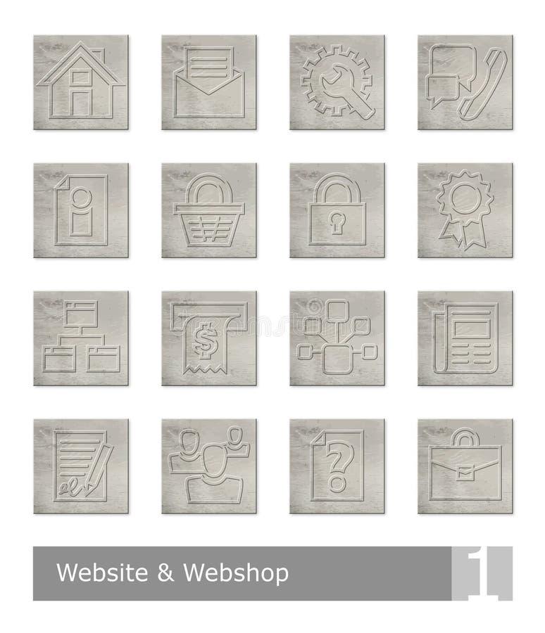 Vectordiepictogrammen voor website en Webwinkel worden geplaatst; uitstekende houten knopen vector illustratie