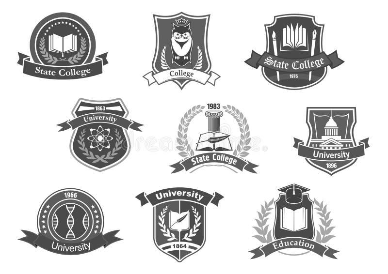 Vectordiepictogrammenkentekens voor hogeschool of universiteit worden geplaatst royalty-vrije illustratie