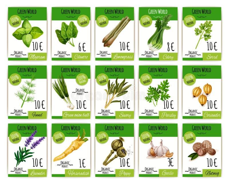 Vectordieprijskaarten voor kruiden en kruiden worden geplaatst stock illustratie