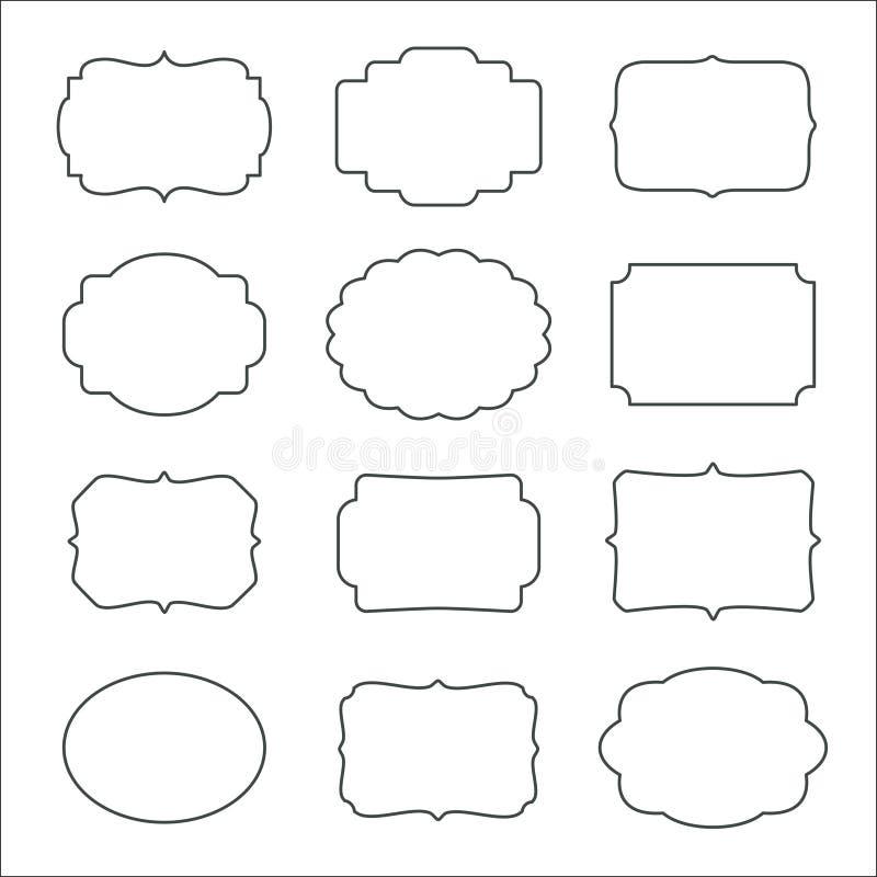 Vectordiereeks kaders op witte achtergrond worden geïsoleerd stock illustratie