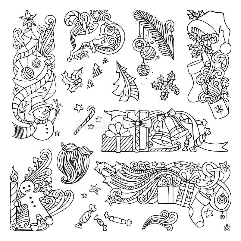 Vectordiereeks ornamenten van krabbelskerstmis op witte achtergrond wordt geïsoleerd vector illustratie