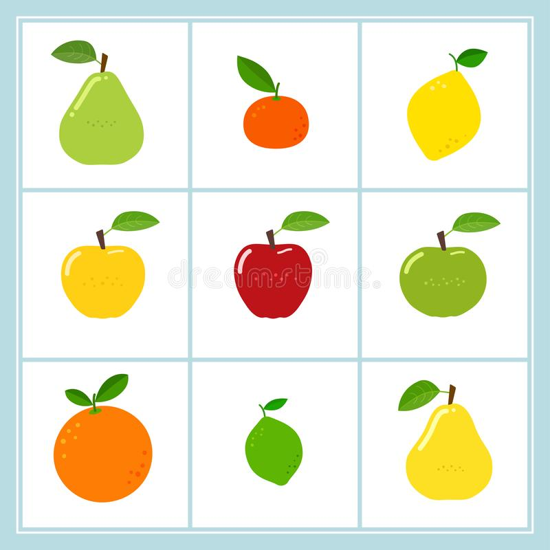 Vectordiereeks pictogrammen van het beeldverhaalfruit op wit wordt geïsoleerd vector illustratie