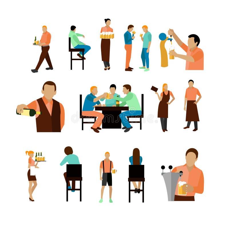 Vectordiereeks van de arbeiders en de bezoeker van de bierbar op witte achtergrond worden geïsoleerd Restaurantpictogrammen, ontw vector illustratie