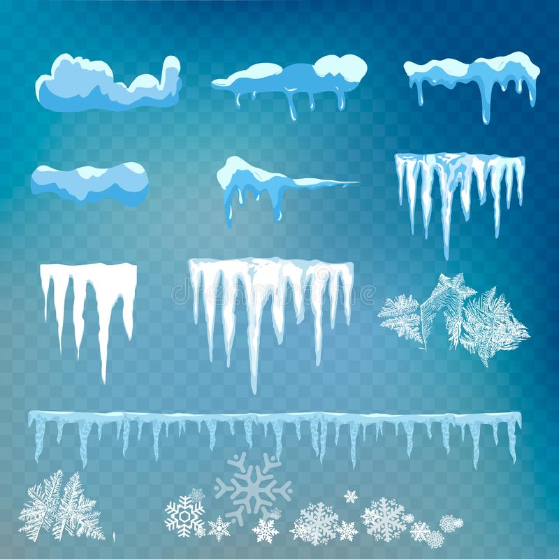 Vectordiereeks van sneeuwkappen, ijskegels, sneeuwbal en sneeuwbank op transparante achtergrond worden geïsoleerd Holle sneeuwman stock illustratie