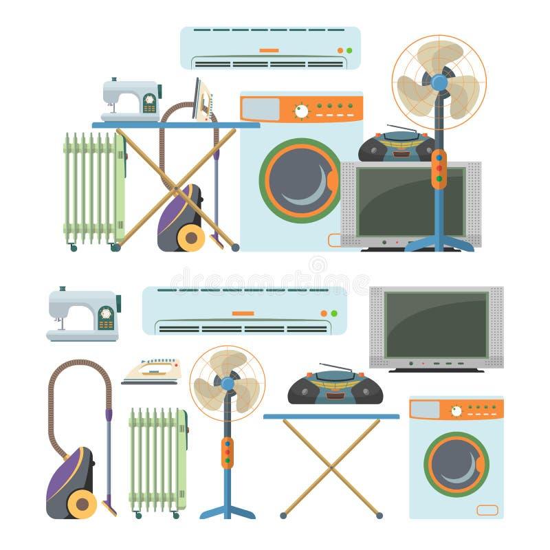 Vectordiereeks voorwerpen van de huiselektronika op witte achtergrond worden geïsoleerd De pictogrammen van huistoestellen royalty-vrije illustratie