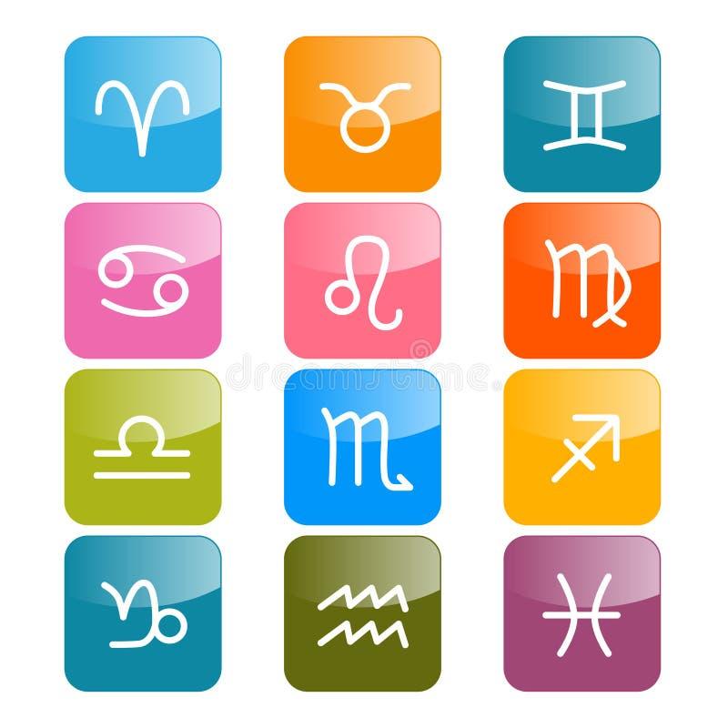 Vectordierenriem, Horoscooppictogrammen royalty-vrije illustratie