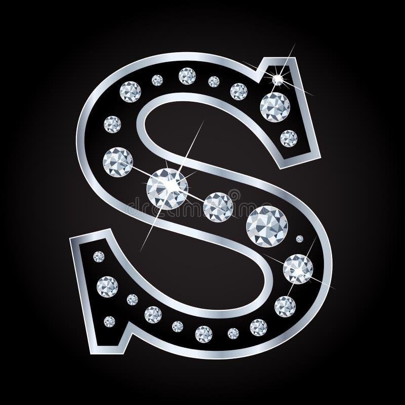 Vectordies-brief met diamanten wordt gemaakt op zwarte achtergrond worden geïsoleerd stock illustratie