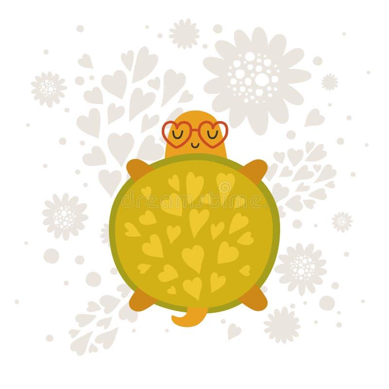 Vectordieschildpad op witte achtergrond wordt geïsoleerd royalty-vrije illustratie
