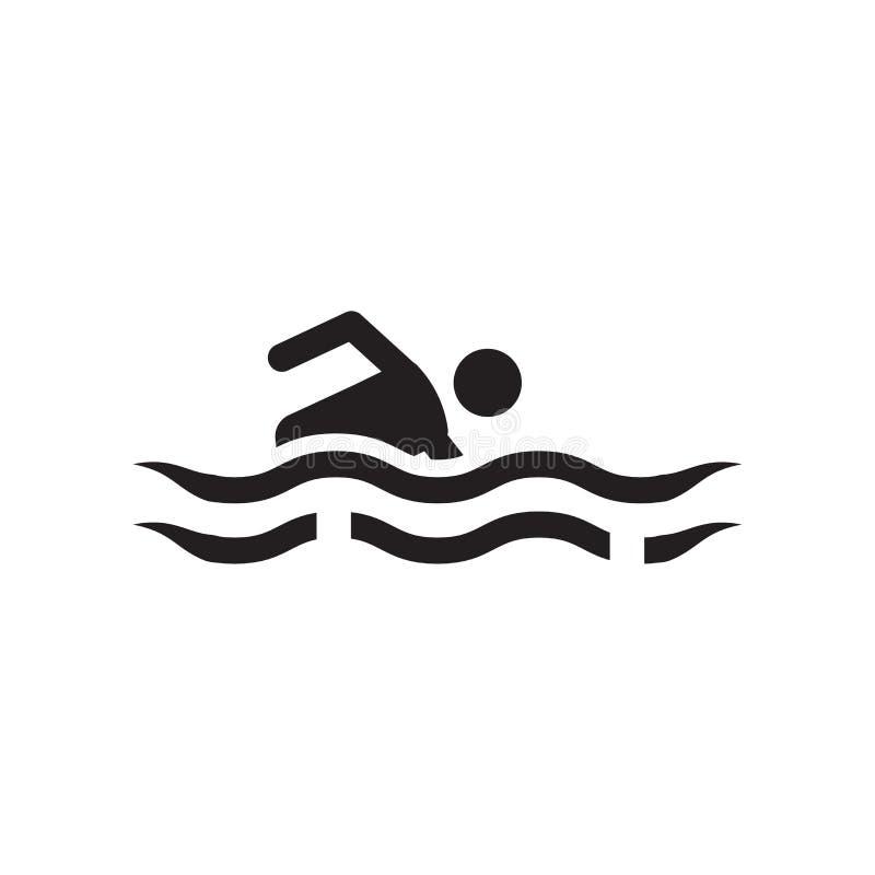 Vectordieteken en het symbool van het mensen het zwemmende pictogram op witte achtergrond, het conceptenpictogram wordt geïsoleer stock illustratie