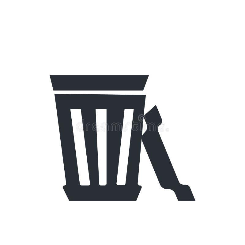 Vectordieteken en het symbool van het vuilnisbak het Open pictogram op witte achtergrond, concept van het Vuilnisbak het Open emb royalty-vrije illustratie