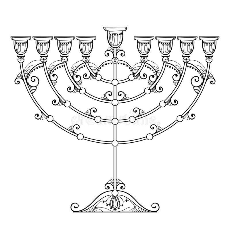 Vectordietekening van overzichtschanoeka menorah of Chanukiah-kandelaber in zwarte op witte achtergrond wordt geïsoleerd Overlade stock illustratie