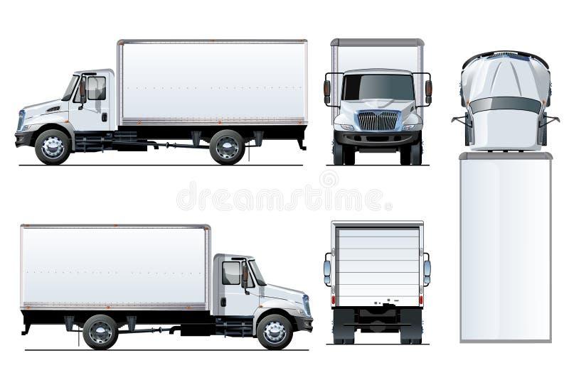 Vectordievrachtwagenmalplaatje op wit wordt geïsoleerd stock illustratie