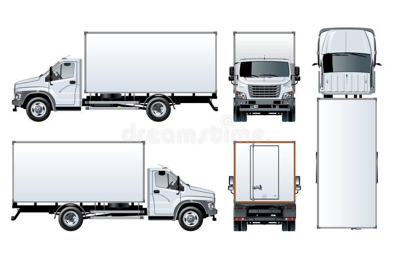 Vectordievrachtwagenmalplaatje op wit wordt geïsoleerd royalty-vrije illustratie