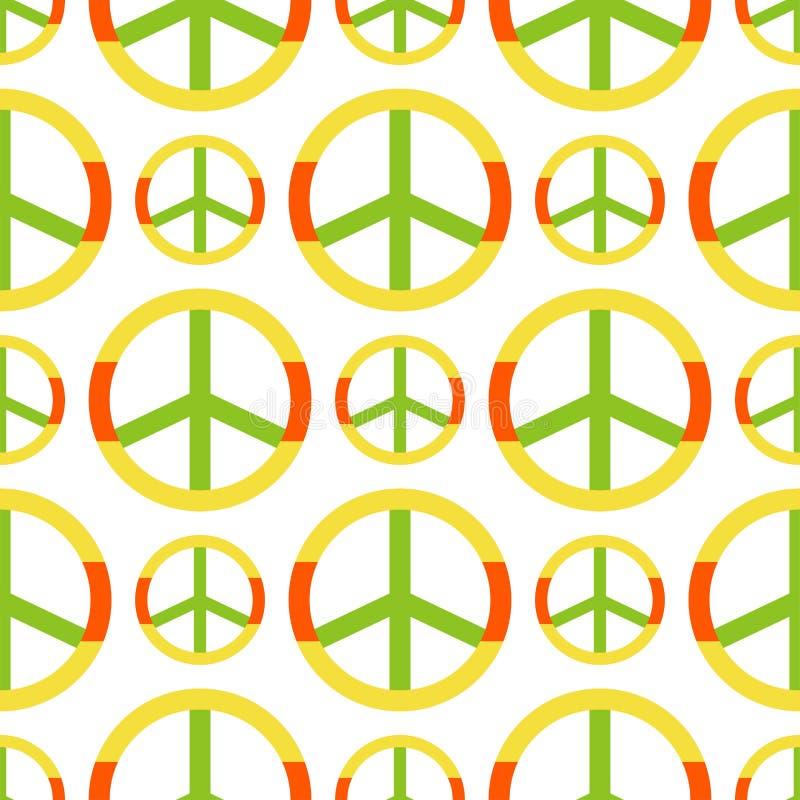 Vectordievredessymbool van van het het pacifismeteken van het hippiethema van het de stijl de naadloze patroon sierachtergrond wo stock illustratie