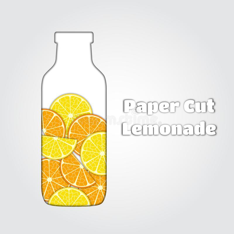 Vectordocument besnoeiingsillustarion van limonade, papercut citroendrank, jus d'orange stock illustratie
