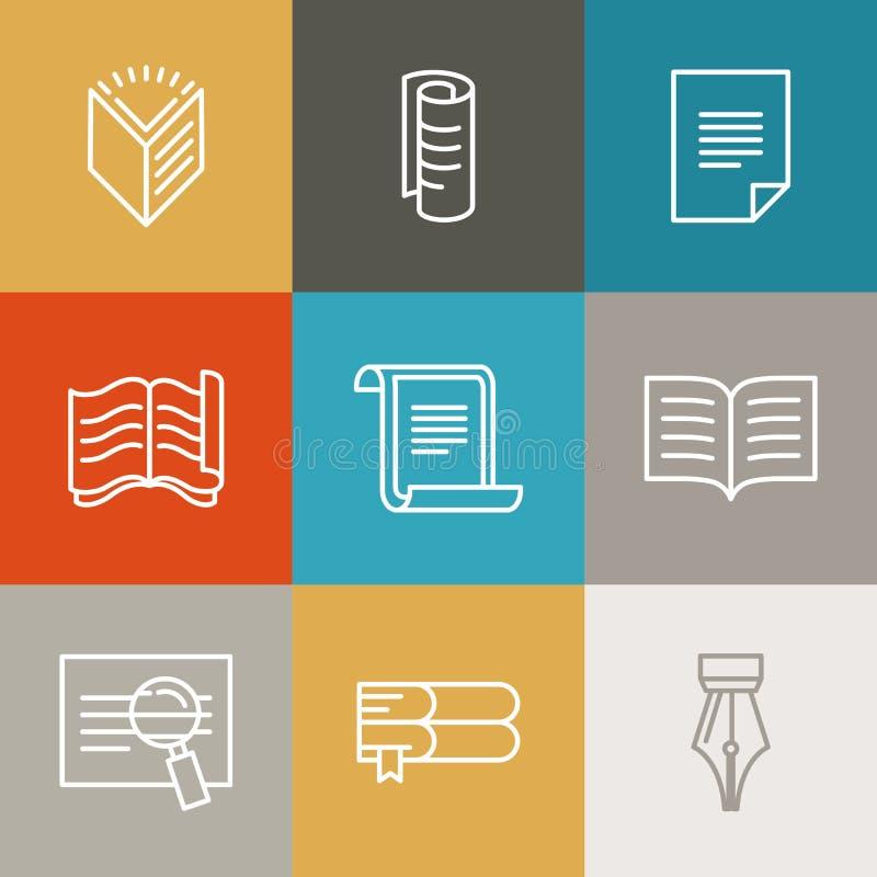 Vectordocument en document tekens en pictogrammen stock illustratie