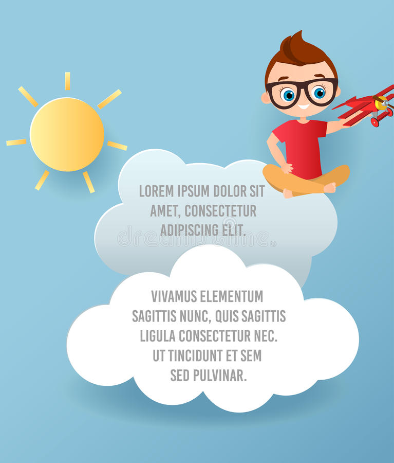 Vectordocument kunst van wolk en vliegtuig in de hemel Malplaatje reclamefolder met ruimte voor tekst De Banner van het origamico stock illustratie