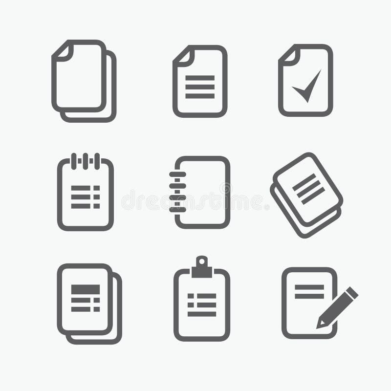 Vectordocument pictogrammen Bureaudocumenten, blocnotes, dossiers N'art -n'art-ure royalty-vrije illustratie