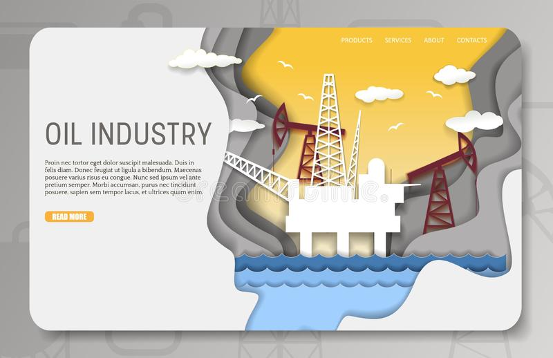 Vectordocument van het de industrielandingspagina van de besnoeiingsolie de websitemalplaatje royalty-vrije illustratie
