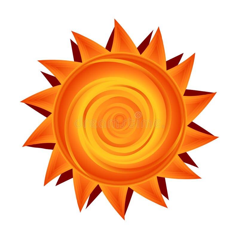 Vectordocument zon in geel en oranje Zonnig symbool stock illustratie