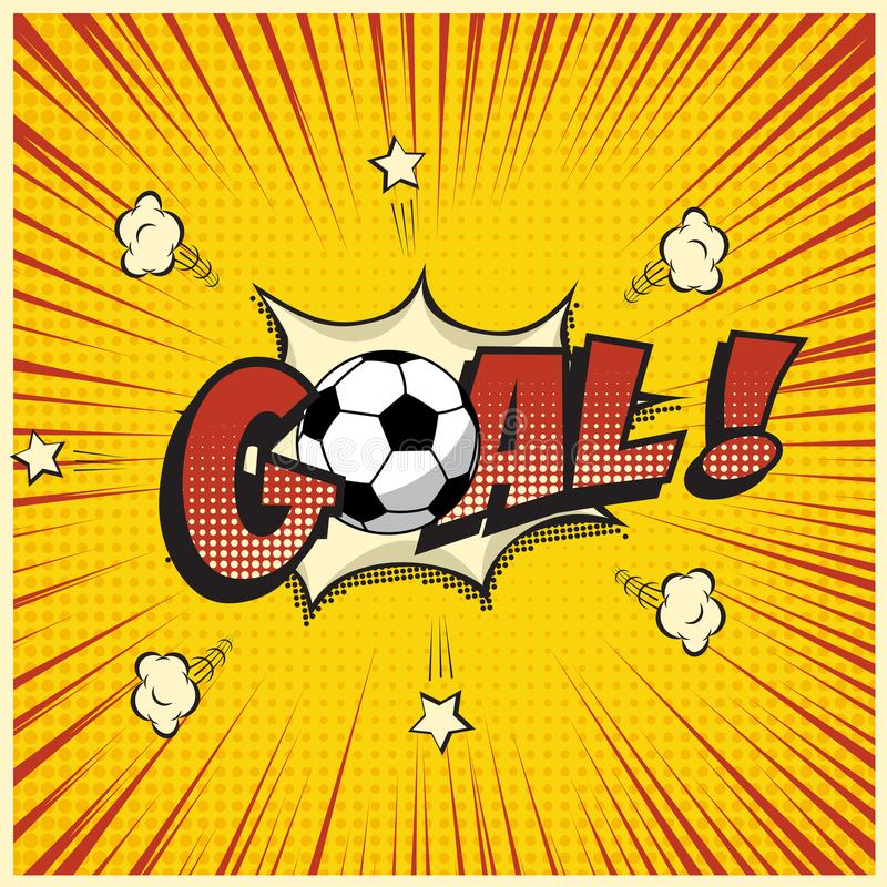 Vectordoelwoord met voetbalbal in de grappige illustratie van de boekstijl stock illustratie
