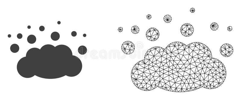 Vectordraadkader Mesh Cloud Emission en Vlak Pictogram vector illustratie