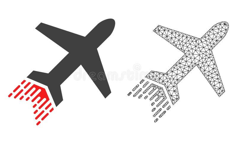 Vectordraadkader Mesh Jet Liner en Vlak Pictogram stock illustratie