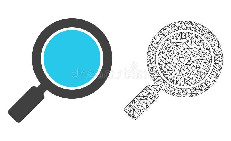 Vectordraadkader Mesh Search Loupe en Vlak Pictogram royalty-vrije illustratie